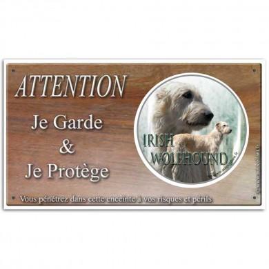 Plaque ou panneau de garde Attention au Chien - irish wolfhound froment