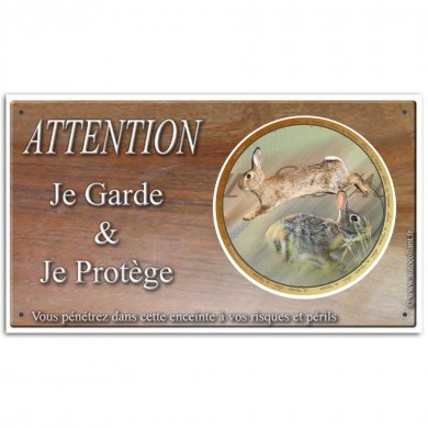 Plaque de garde Attention au Gibier lapin de garenne