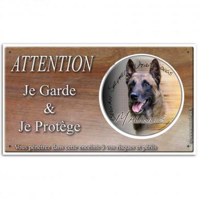 Panneau attention aux chiens personnalisé berger malinois