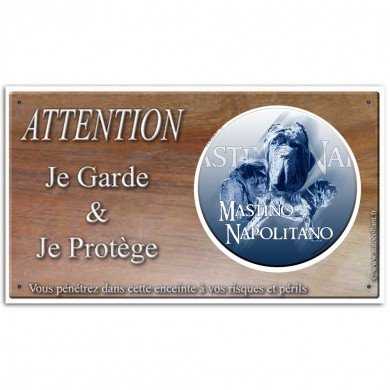 Plaque ou panneau de garde Attention au Chien - matin de naples