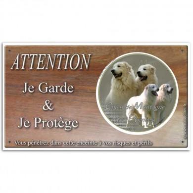 Plaque ou panneau de garde Attention au Chien - montagne des pyrenee