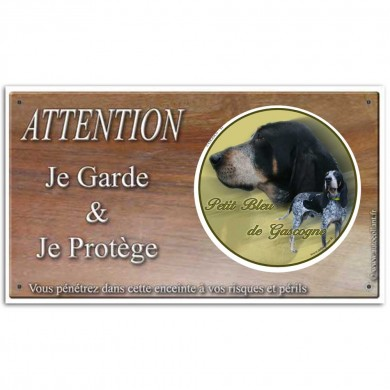 Plaque ou panneau de garde Attention au Chien - petit bleu de gascogne