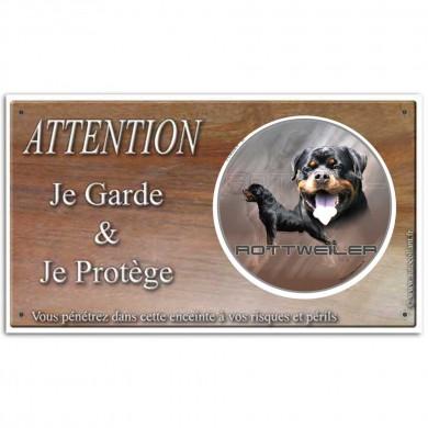 Plaque attention chien personnalisé avec le Rottweiler