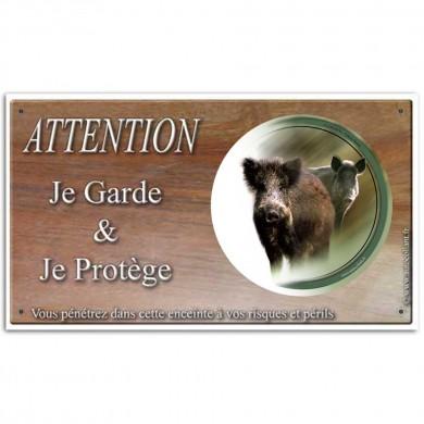 Plaque ou panneau de garde Attention au Gibier - sanglier