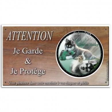 Plaque ou panneau de garde Attention au Chien - siberian husky baby dog