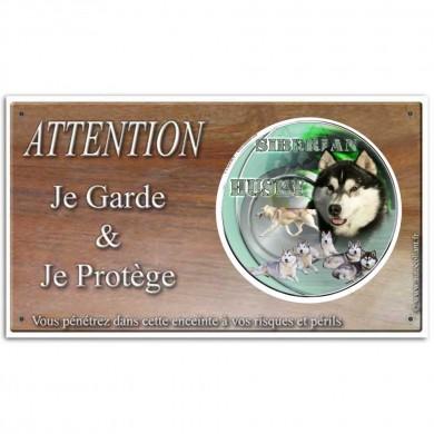 Plaque ou panneau de garde Attention au Chien - siberian husky