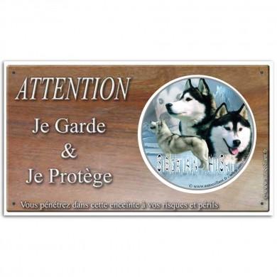 Plaque ou panneau de garde Attention au Chien - siberian husky oumiaks