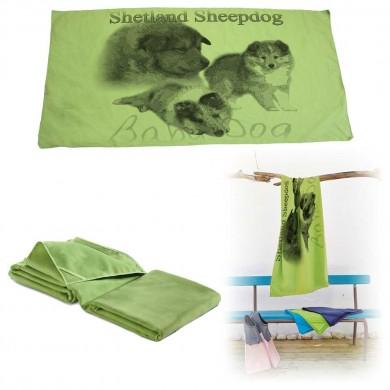 Serviette microfibre de bain  shetland sheepdog baby dog