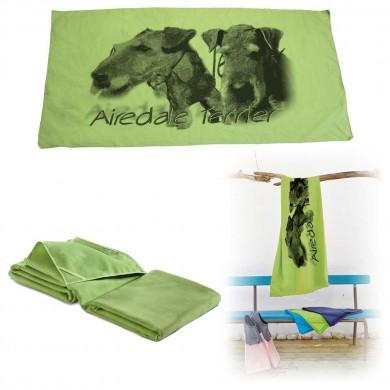 Serviette microfibre de bain airedale terrier