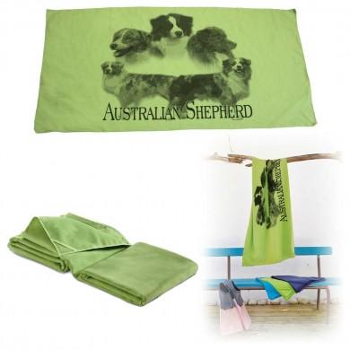 Serviette microfibre de bain australian shepherd rouge