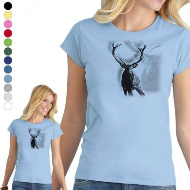 T-shirt  Cerf pour femme en 8 couleurs disponibles