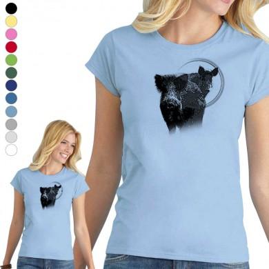 T-shirt  Sanglier pour femme en 8 couleurs disponibles