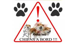 sticker chien à bord akita