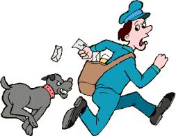 un agent public se fait courser par un chien de garde