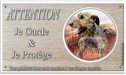 lévrier wolfhound sur panneau attention au chien