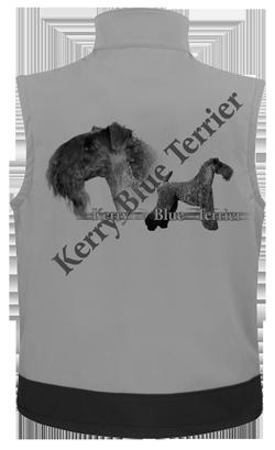 Bodywarmer softshelle personnalisé avec un chien kerry blue terrier