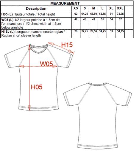 Tableau de cote du Tee shirt femme orange fluorescent.