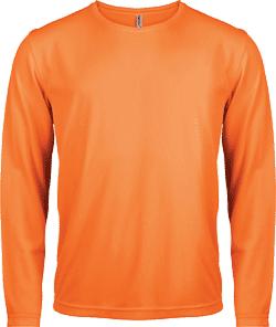 Tee shirt manche longue orange fluo personne qui pratique la chasse polyester.