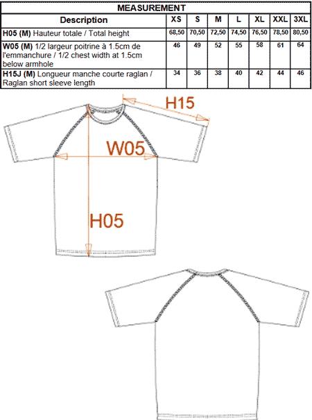 tableau mesure t-shirt orange fluo manche courte