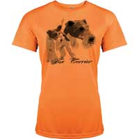 t-shirt femme orange fluo imprimé gibier