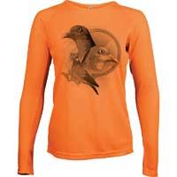 tee shirt orange fluo pour femme à la chasse