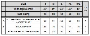 tableau des mensurations de la veste bodywarmer